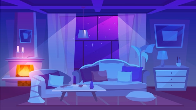 Woonkamer inrichting nachtzicht illustratie. woonplaats interieur in klassieke stijl. cartoon open haard versierd met stijlvolle kaarsen. bank en fauteuil met kussens op de vloer Premium Vector