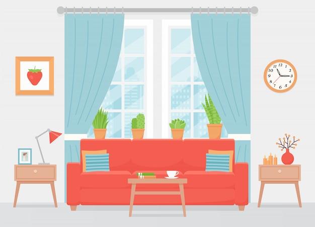 Woonkamer interieur. illustratie. plat ontwerp. Premium Vector