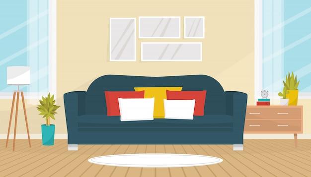 Woonkamer interieur met gezellige bank, foto's aan de muur, kamerplanten, staande lamp en commode. huis design. modern appartement met grote ramen. vlakke afbeelding. Premium Vector