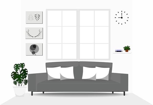 Woonkamer interieur met grijze bank | Vector | Premium Download