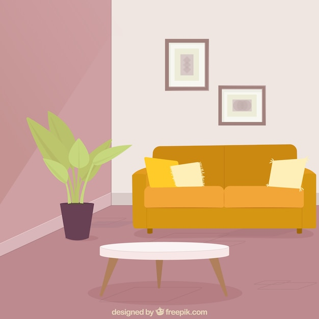 Woonkamer met bank en planten Vector | Gratis Download