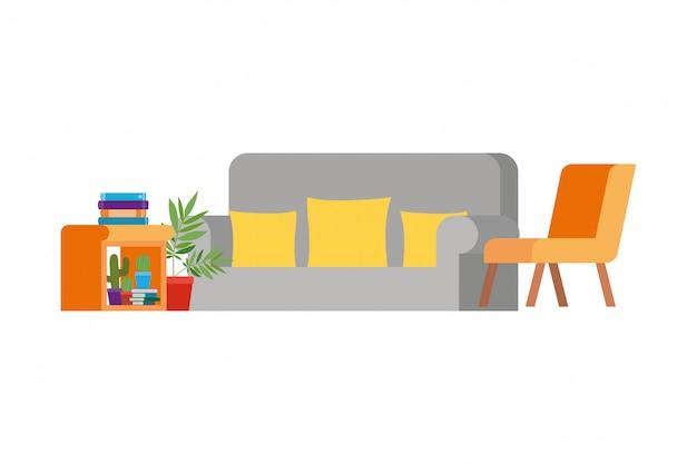 Woonkamer met bank en stapel boeken Premium Vector