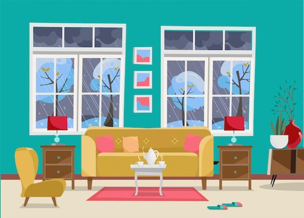 Woonkamer met meubels - bank met tafel, nachtkastje, schilderijen, lampen, vaas, tapijt, porseleinen set, zachte stoel in de kamer met twee grote ramen Premium Vector