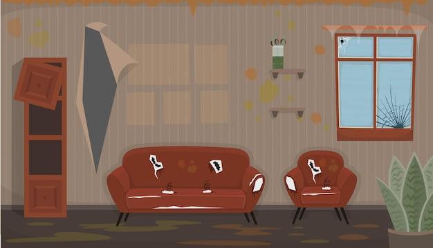 Woonkamer met oude vieze stoel, bank, kapot raam, kapotte boekenplank. plat vuil interieur in cartoon-stijl. Premium Vector