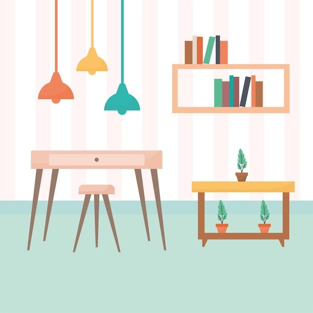 Woonkamer met tafels gevuld met boeken en planten plus een kroonluchter Premium Vector