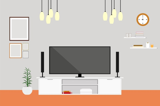 Woonkamer met tv modern design thuis set Premium Vector