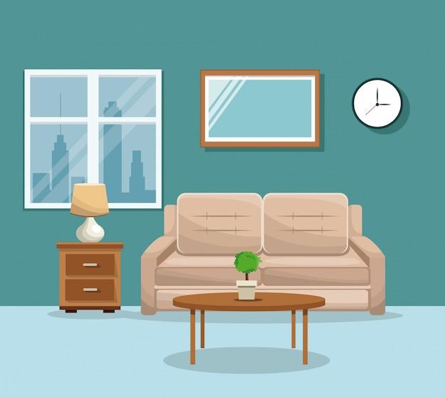 Woonkamer sofa tafel potplant klok lamp spiegel venster | Vector ...