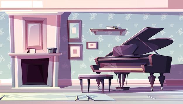 Woonkamerbinnenkant in klassieke stijl met open haard, vleugelpiano en schilderijen Gratis Vector