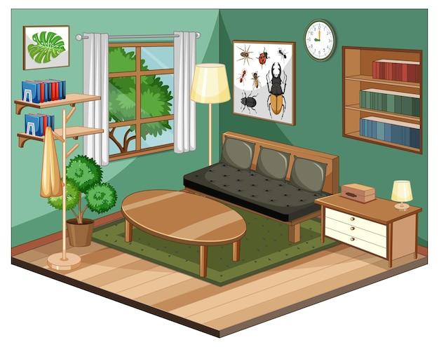 Woonkamerbinnenland met meubilair en groene muur Gratis Vector