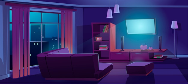 Woonkamerbinnenland met tv, bank 's nachts Gratis Vector