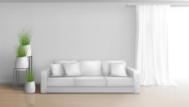 Woonwoonkamer minimalistisch, zonnig interieur in witte kleuren met sofa op laminaatvloer, lang, zwaar gordijn op vensterroede, keramische bloempotten met groene planten illustratie Gratis Vector