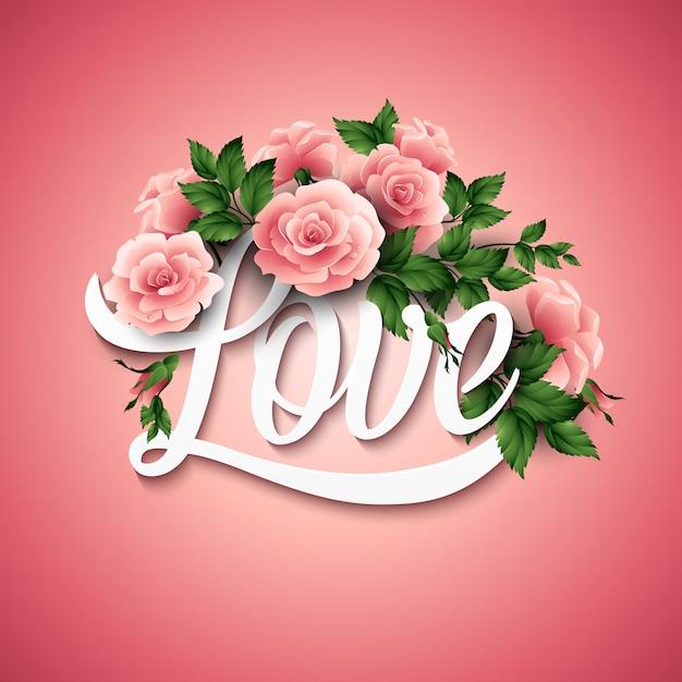 Woord liefde met bloemen. vector illustratie Premium Vector