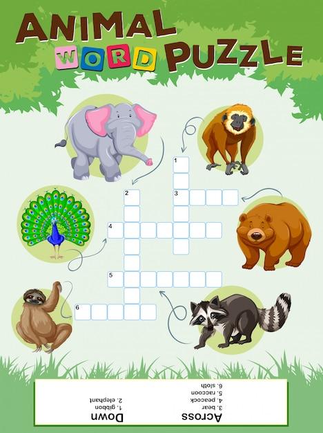Woord puzzelspel met wilde dieren Gratis Vector