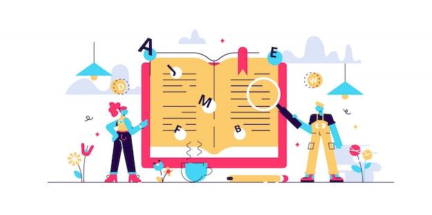 Woordenboek illustratie. kleine vertaling boek personen concept. Premium Vector