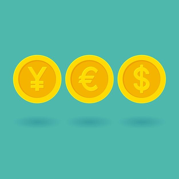 Word ja gemaakt van geel gouden munten valutasymbolen. yen, euro, dollar illustratie Premium Vector