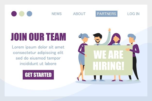 Word lid van ons team, we huren een banner in voor de websitesjabloon. business team welkom nieuwe werknemer geïsoleerd. grappige persoon met bericht. Premium Vector