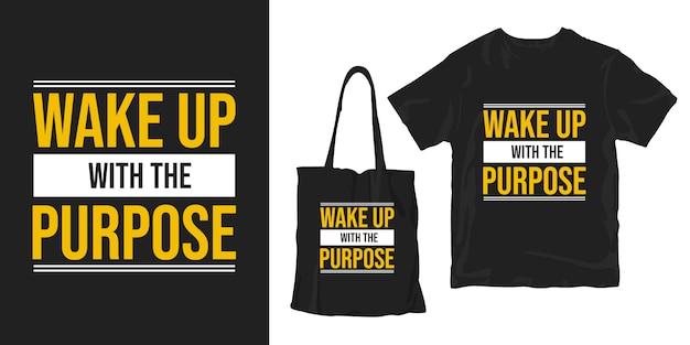 Word wakker met het doel inspirerende woorden typografie poster t-shirt merchandising design Premium Vector
