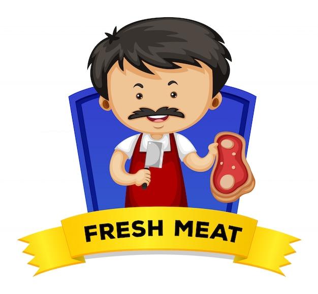 Wordcard met woord vers vlees Gratis Vector