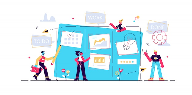 Workflow organisatie. kantoorwerk en tijdbeheer. kanban bord, teamwerk communicatieproces, agile projectmanagement concept. geïsoleerde concept creatieve illustratie Premium Vector