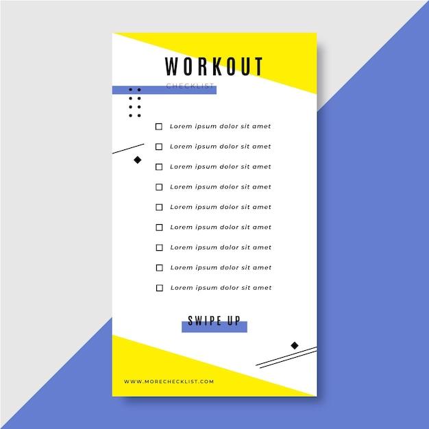 Workout checklist instagram verhaalsjabloon Gratis Vector