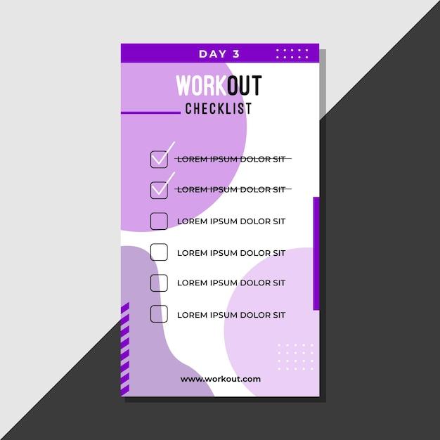 Workout checklist sjabloon Gratis Vector