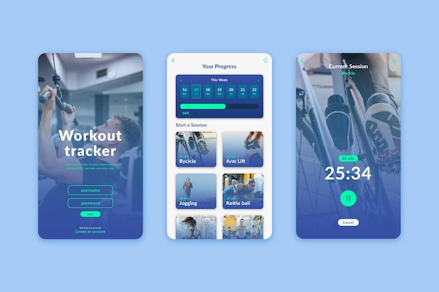 Workout tracker app-interface Gratis Vector