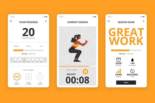 Workout tracker app-interface Gratis Vector