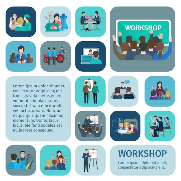 Workshop vlakke die pictogrammen met zakenlieden en arbeidersgroepswerksymbolen geïsoleerde vectorillustratie worden geplaatst Gratis Vector