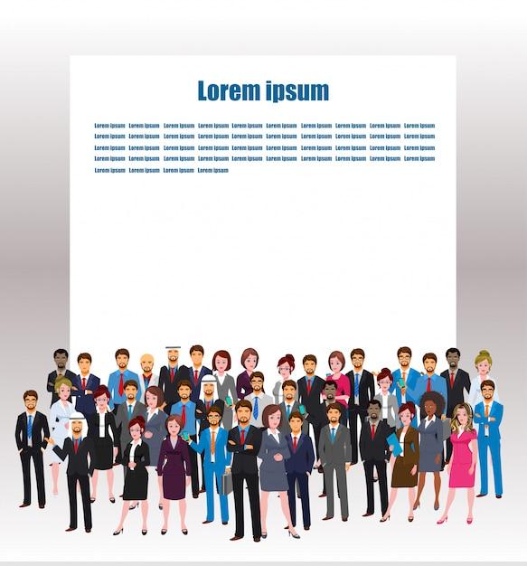 World business character poses met kopie ruimte Premium Vector
