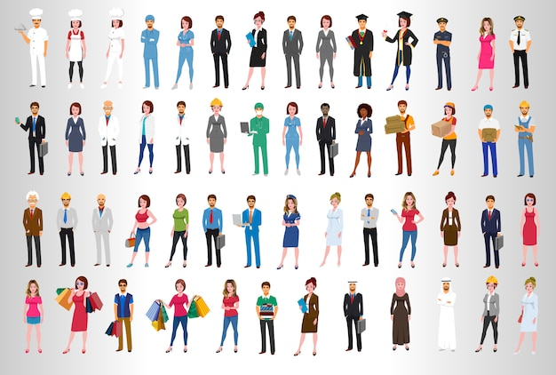 World business character poses Premium Vector