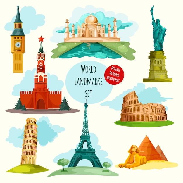 World landmarks set Gratis Vector