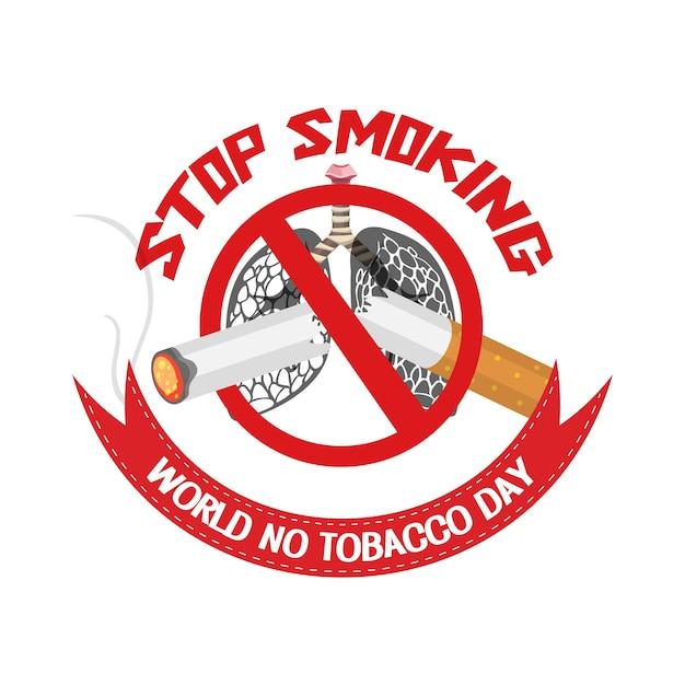 World no tobacco day-logo met verboden stoppen met roken rood bord Premium Vector