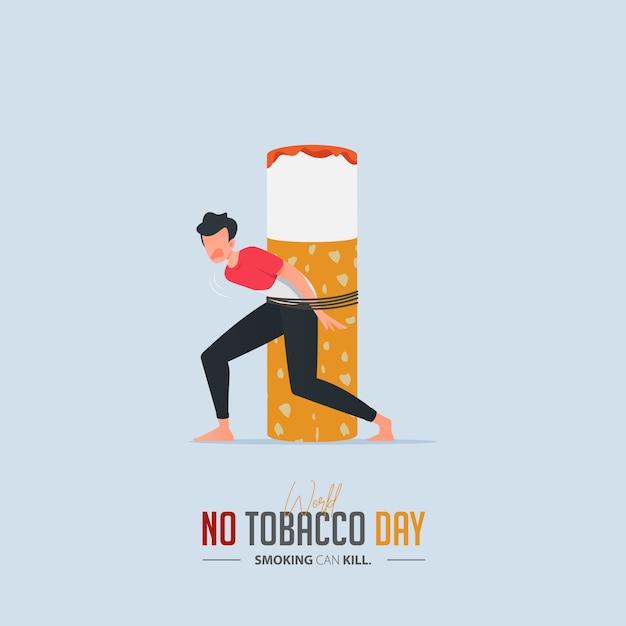 World no tobacco day poster voor sigarettenvergiftiging concept. Premium Vector
