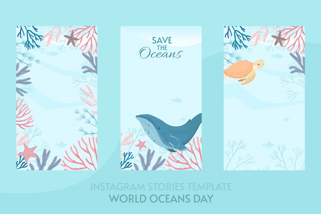 World oceans day card illustratie Premium Vector