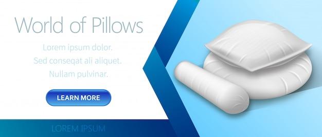 World of white pillows advertising Premium Vector