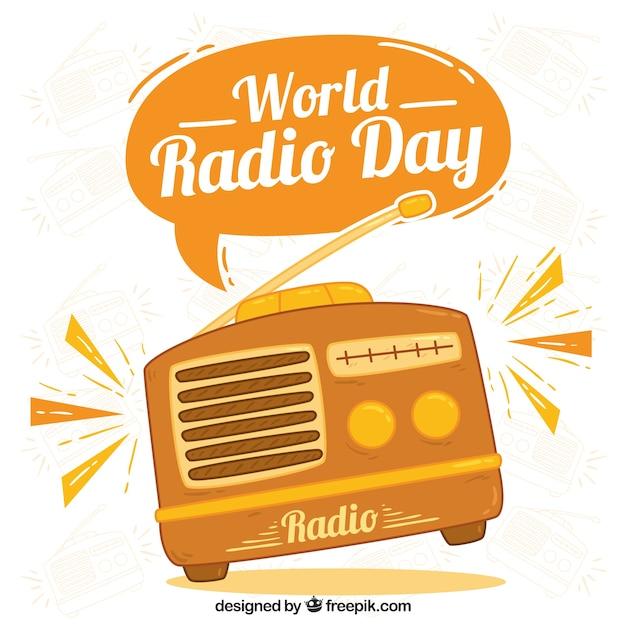 World radio dag achtergrond in oranje tinten Gratis Vector