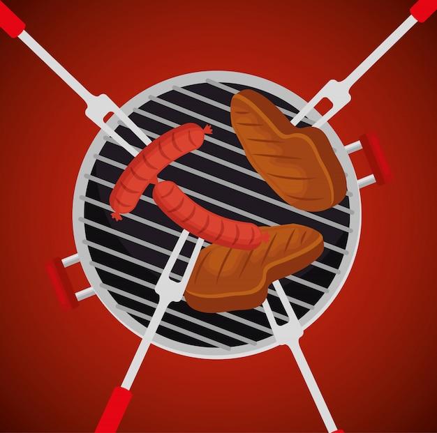 Worsten met vlees in de grill Gratis Vector