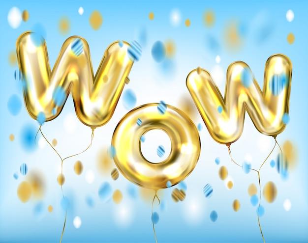 Wow belettering door folie gouden ballonnen in blauw Premium Vector