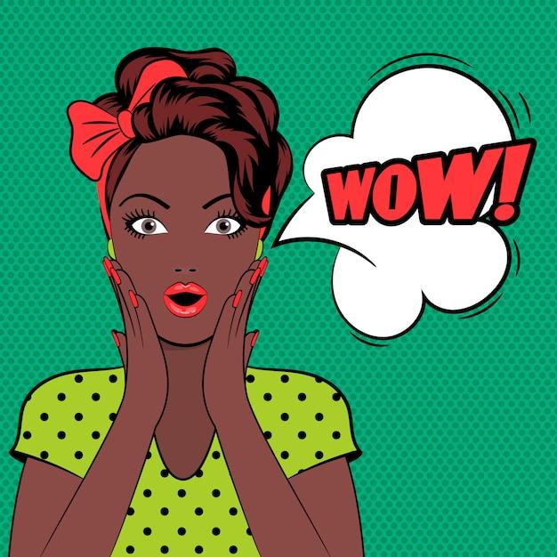 Wow bubble pop-art vrouw gezicht Premium Vector