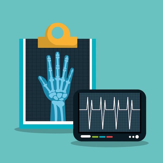 X ray digitale medische gezondheidszorg geïsoleerd Premium Vector