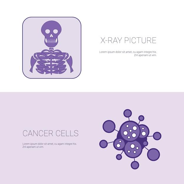 X ray foto en kanker cellen concept sjabloon web banner met kopie ruimte Premium Vector