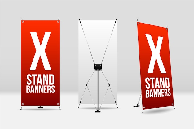 X stand banners collectie Premium Vector