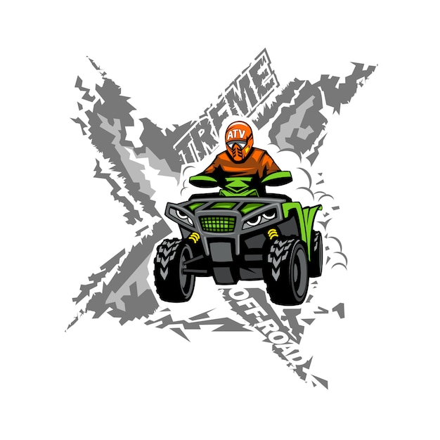Xtreme atv off-road quad. Premium Vector