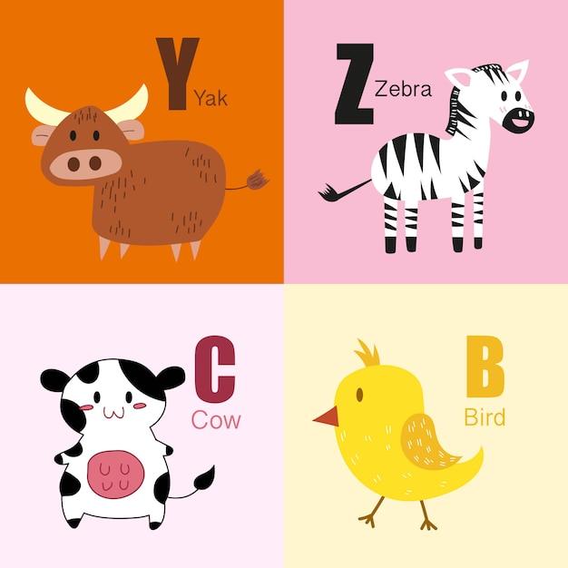 Y, z, c, b dieren alfabet illustratie collectie. Premium Vector
