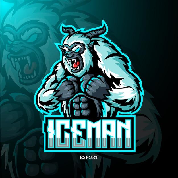 Yeti mascotte logo Premium Vector