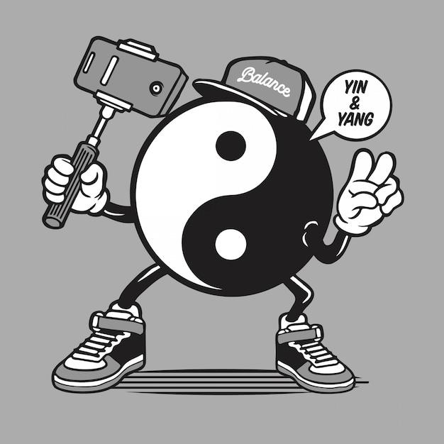 Yin yang symbool logo selfie karakter Premium Vector