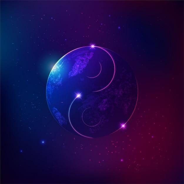 Yin-yang universe Premium Vector