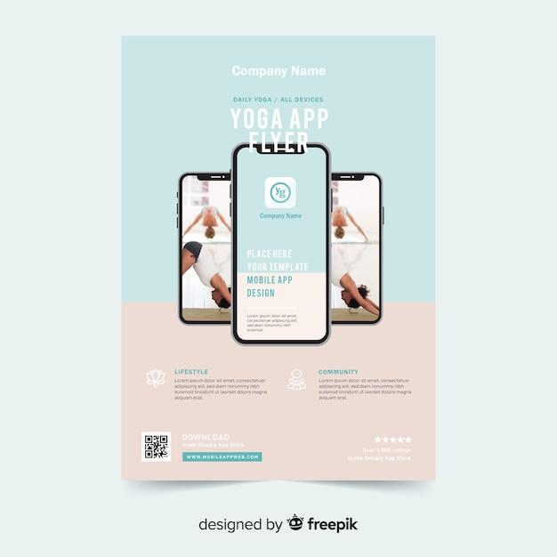 Yoga app brochure sjabloon Gratis Vector