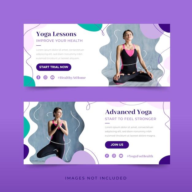 Yoga banner sjabloonpakket Gratis Vector