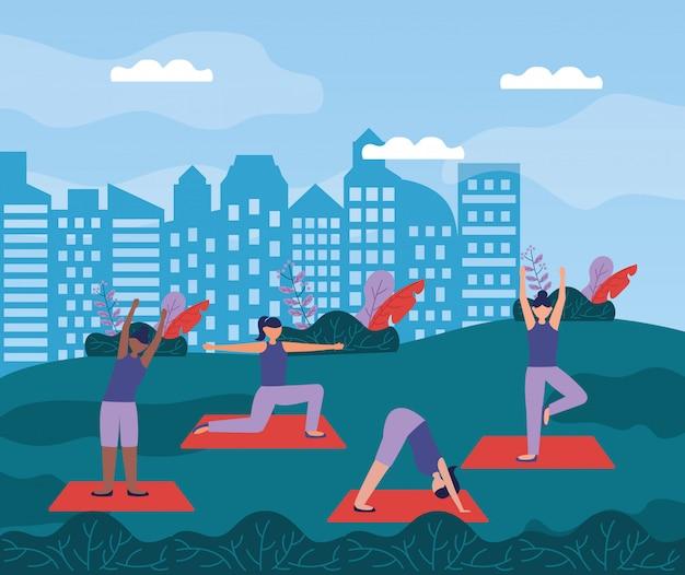 Yoga buiten in vlakke stijl Gratis Vector